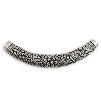 68x8mm Large Hole Pewter Curved Tube Bead Floral (1-Pc)