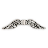 Angel Wings Bead 32x8mm Pewter Antique Silver Plated (1-Pc)