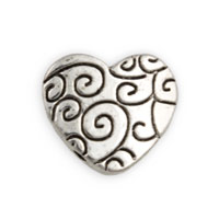 Flat Two-Hole Swirl Heart Bead 16mm Pewter Silver Plated (1-Pc)