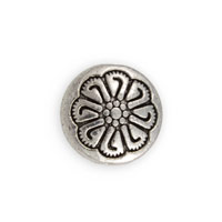 Flower Coin Bead 12x5mm Pewter Antique Silver Plated (1-Pc)