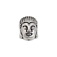 11x9 Antique Silver Plated Pewter Buddha Head Bead (1-Pc)