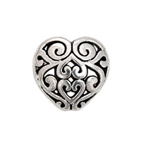 Filigree Heart Bead 13mm Pewter Silver Plated (1-Pc)
