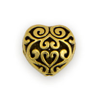 13mm Gold Plated Pewter Filigree Heart Bead (1-Pc)