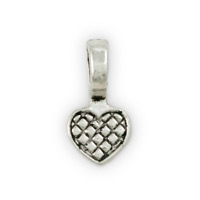 Pewter Bail Glue On Heart 14x8mm (1-Pc)