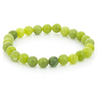 Olive Jade Bead 7-½ Inch Stretch Bracelet (1-Pc)