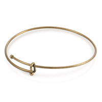Expandable Antique Brass Plated Bangle Charm Bracelet 7-8