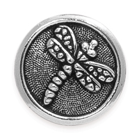TierraCast 17mm Antique Silver Plated Pewter Dragonfly Button (1-Pc)