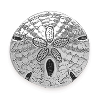 TierraCast 17mm Antique Silver Plated Pewter Sand Dollar Button (1-Pc)