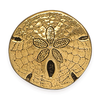 TierraCast 17mm Antique Gold Plated Pewter Sand Dollar Button (1-Pc)