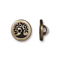 TierraCast 12mm Brass Oxide Bird in a Tree Pewter Button (1-Pc)