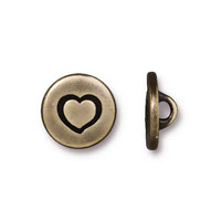 TierraCast 12mm Brass Oxide Heart Pewter Button (1-Pc)
