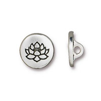 TierraCast 12mm Antique Silver Plated Lotus Pewter Button (1-Pc)
