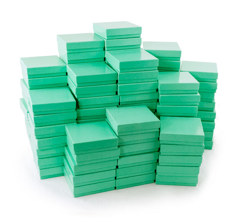 Teal Cotton Filled Jewelry Box 33 Factory Seconds Case of 100