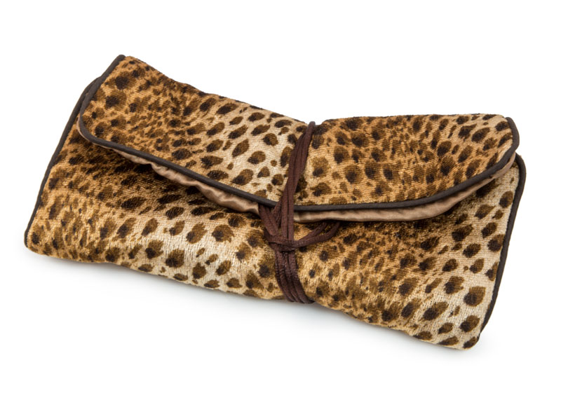 Leopard Print Travel Jewelry Roll Necklace Displays