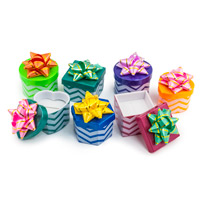 Mini Hat Boxes - Assorted Chevron Patterns (48-pcs)