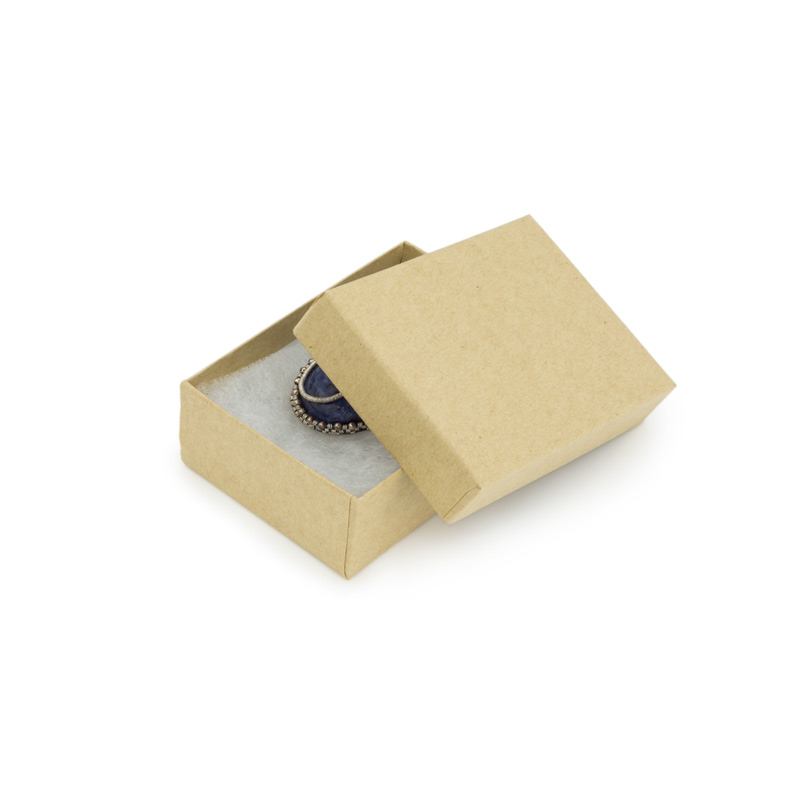 Jewelry Boxes with Synthetic Cotton Fill 4 x 4 x 1 Brown Kraft 100 Count