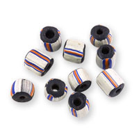 Ghana Glass Chevron Bead 5-6mm Black/White/Red/Blue (10-Pcs)
