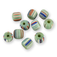 Ghana Glass Chevron Bead 5-6mm Mint/White/Red/Blue (10-Pcs)