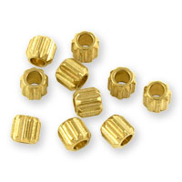 Corrugated Cylinder Beads 4mm Brass (10-Pcs)