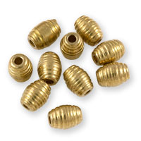 Grooved Barrel Beads 6x8mm Brass (10-Pcs)