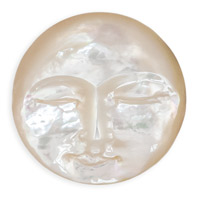 Mother of Pearl Moon Face Round Cabochon 25mm