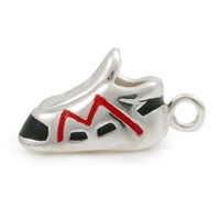 Red/Black Running Shoe Charm 15mm Sterling Silver