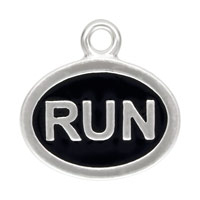 12x9mm Sterling Silver Run Charm