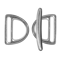 Slotted D Ring Clasp Set 24x19mm Pewter Antique Silver Plated (3-Pcs)