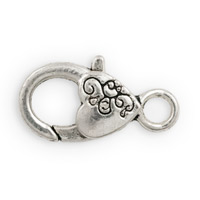 Heart Pewter Lobster Clasp 26x12mm (1-Pc)