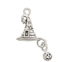 Witch's Hat Charm 25x13mm Pewter Antique Silver Plated (1-Pc)