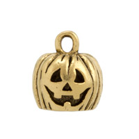 Pumpkin Charm 9x11.5mm Pewter Antique Gold Plated (1-Pc)