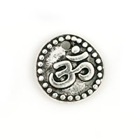 TierraCast Charm - Om 10mm Pewter Antique Silver Plated (1-Pc)