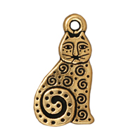 TierraCast Charm - Spiral Cat 16x10mm Pewter Antique Gold Plated (1-Pc)