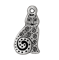 TierraCast Charm - Spiral Cat 16x10mm Pewter Antique Silver Plated (1-Pc)