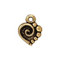 TierraCast Mini Charm - Spiral Heart Drop 9x10mm Pewter Antique Gold Plated (1-Pc)