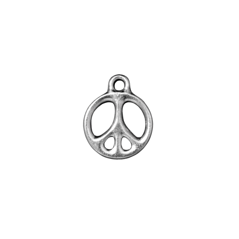 Jewelry Charm Peace Sign 15mm Pewter Bright Rhodium Plated