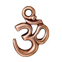 TierraCast Charm - Om 14x18mm Pewter Antique Copper Plated (1-Pc)