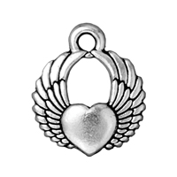 TierraCast Winged Heart Charm 15x18mm Pewter Antique Silver Plated (1-Pc)