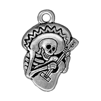 TierraCast Guitaro Charm 16x24mm Pewter Antique Silver Plated (1-Pc)