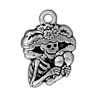 TierraCast Charm - Catrina 22x16mm Pewter Antique Silver Plated (1-Pc)