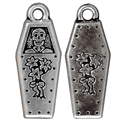 TierraCast Coffin Charm 26x10mm Pewter Antique Silver Plated (1-Pc)