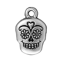 TierraCast Sugar Skull Charm 12x19mm Pewter Antique Silver Plated (1-Pc)