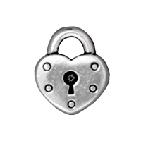 TierraCast Heart Lock Charm 14x16mm Pewter Antique Silver Plated (1-Pc)