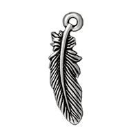 TierraCast Charm - Small Feather 23x7mm Pewter Antique Silver Plated (1-Pc)