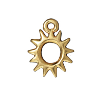 TierraCast Charm - Radiant Sun 11mm Pewter Bright Gold Plated (1-Pc)