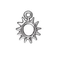 TierraCast Charm - Radiant Sun 11mm Pewter Bright Rhodium Plated (1-Pc)