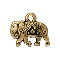TierraCast Charm - Gita the Elephant 12x15mm Pewter Antique Gold Plated (1-Pc)