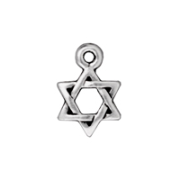 TierraCast Charm - Star of David 10mm Pewter Antique Silver Plated (1-Pc)