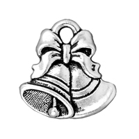 TierraCast Charm - Christmas Bells 16x16mm Pewter Antique Silver Plated (1-Pc)