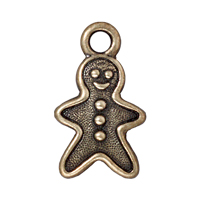 TierraCast Charm - Gingerbread Man 20x11mm Pewter Antique Brass Plated (1-Pc)